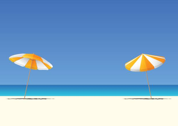 Summer beach and orange beach umbrella on blue gradient sky background  with copy space for your text. vector art illustration