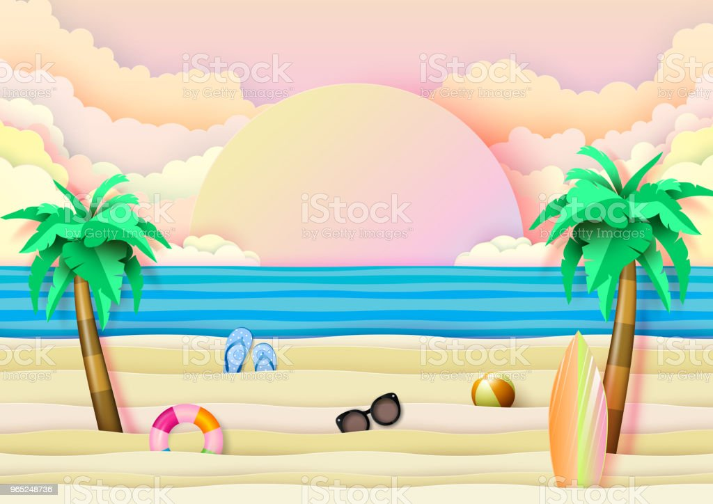 Summer beach and travel concept paper art style. royalty-free summer beach and travel concept paper art style stock vector art & more images of abstract