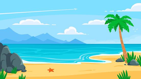 Summer beach background. Sandy seashore, sea coast with palm tree and vocation seaside travel vector cartoon backdrop illustration