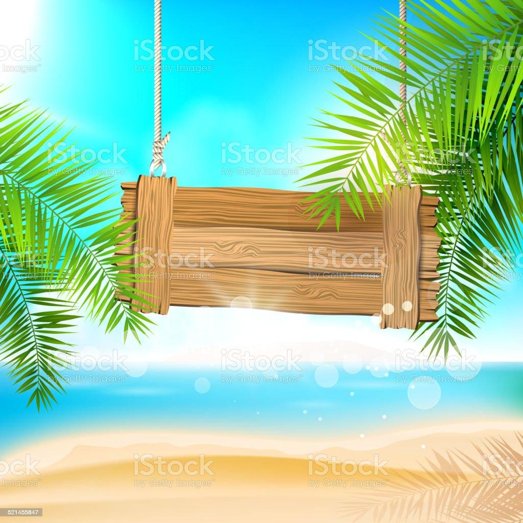 Summer beach background vector art illustration