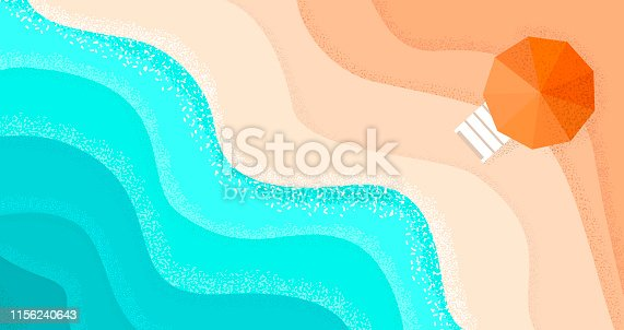 Summer Beach background with blue sea wave and yellow sand and orange umbrella. Holiday relax concept top view