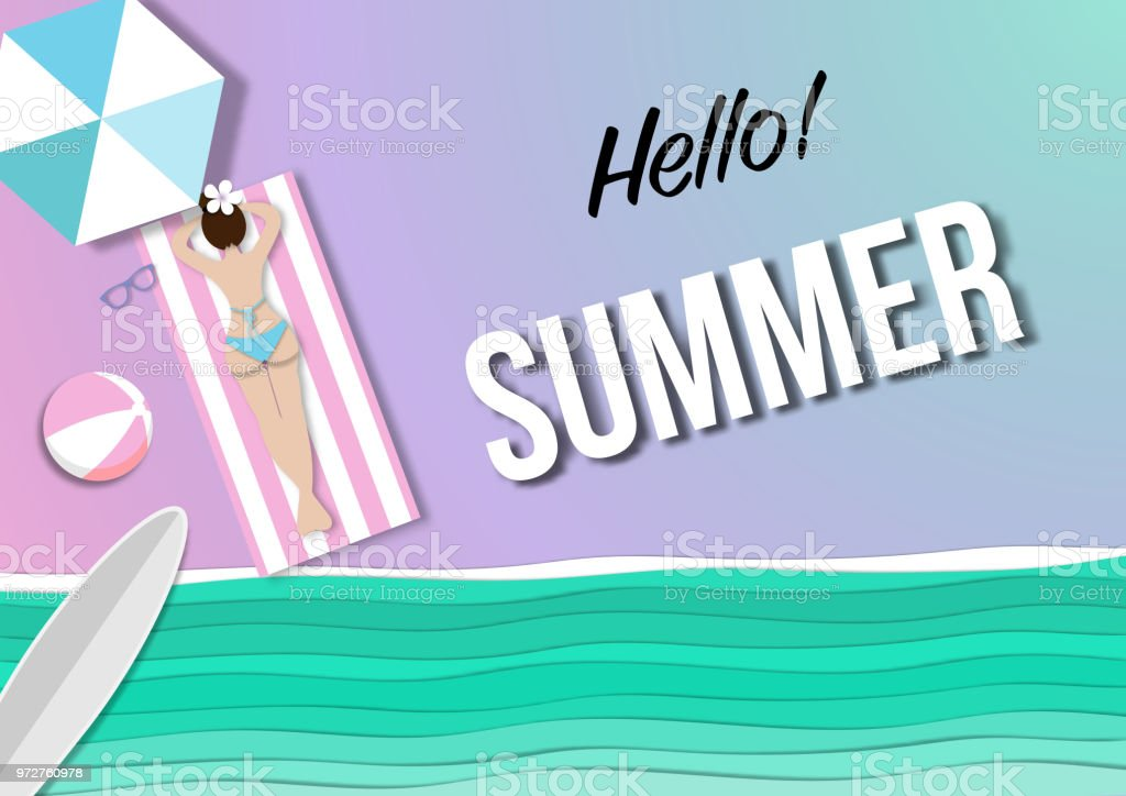 summer beach background with paper art style vector vector art illustration