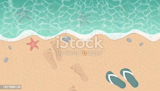 istock Summer beach background with sand and wave. Top view. Vector illustration 1307896126