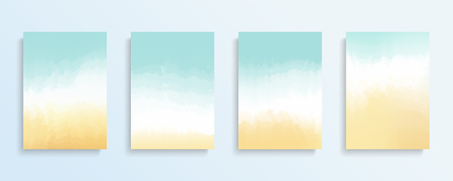 Summer beach backgrounds set. Color gradient patterns. Templates set for brochures, posters, banners and cards.