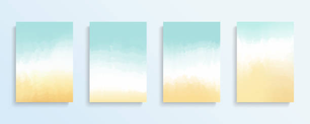 summer beach backgrounds set. color gradient patterns. templates set for brochures, posters, banners and cards. - beach stock illustrations