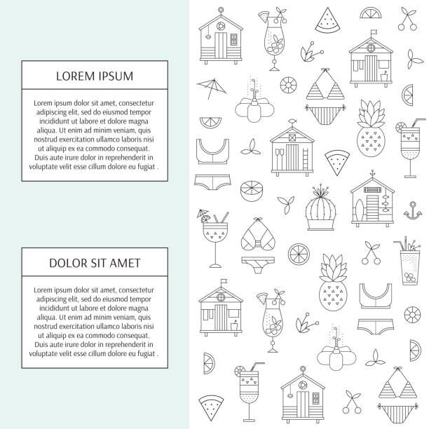 sommer strand banner - schwimmpflanzen stock-grafiken, -clipart, -cartoons und -symbole