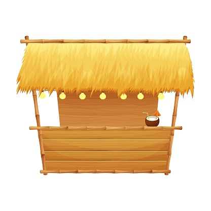 Summer beach bar tiki in cartoon style isolated on white background stock vector illustration. Retro, simple building with bamboo and wooden details. Summertime, vacation element.