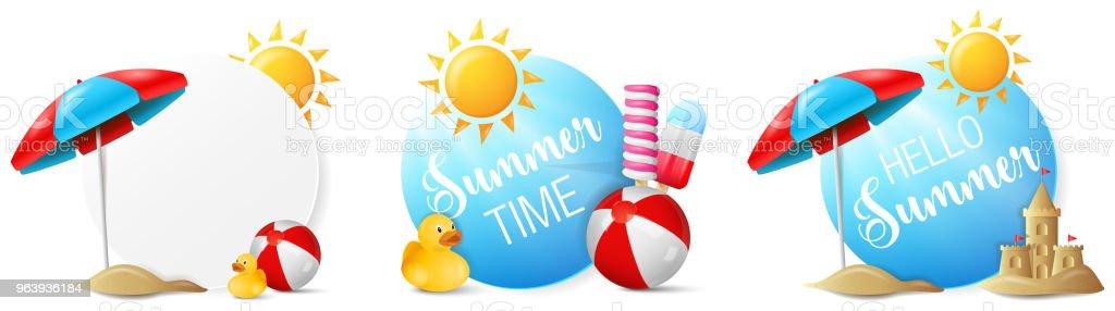 Summer beach buttons vector set - Royalty-free Advertisement stock vector