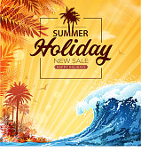 drawing of vector summer beach sign. Created by illustrator cs6. This file of transparent.