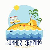 Summer beach camping landscape with caravan, tent, palms and fireplace. Tropical island vacation postcard. Summertime coast place concept