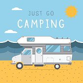 Summer beach camping island landscape with caravan camper, seaview, sand and sun. Family travel RV camp ground scene in flat style. Vacation poster concept.
