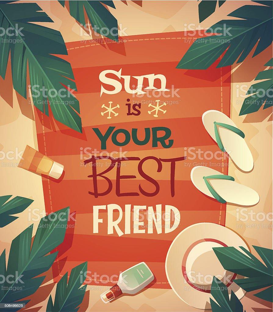 Summer beach card \\ poster design. Vector illustration vector art illustration
