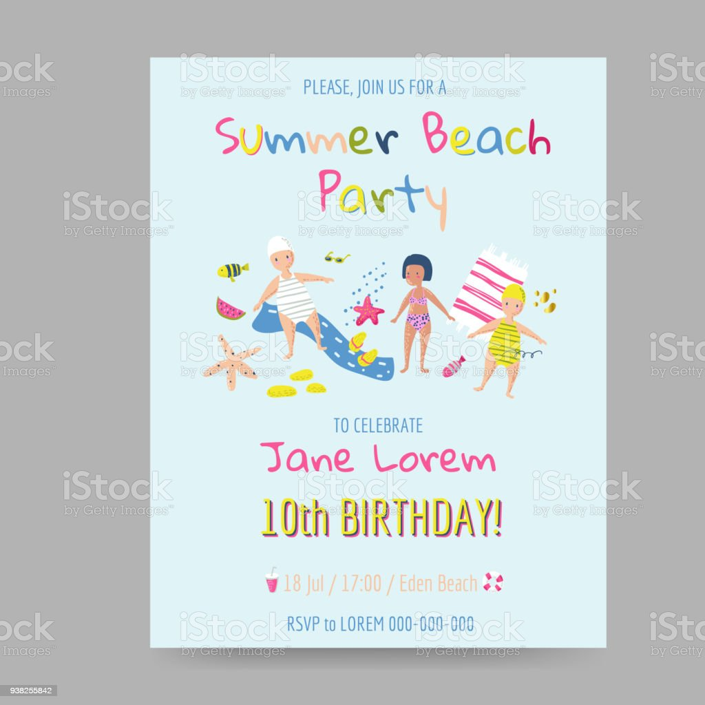 summer beach card with kids and sea creatures happy birthday party