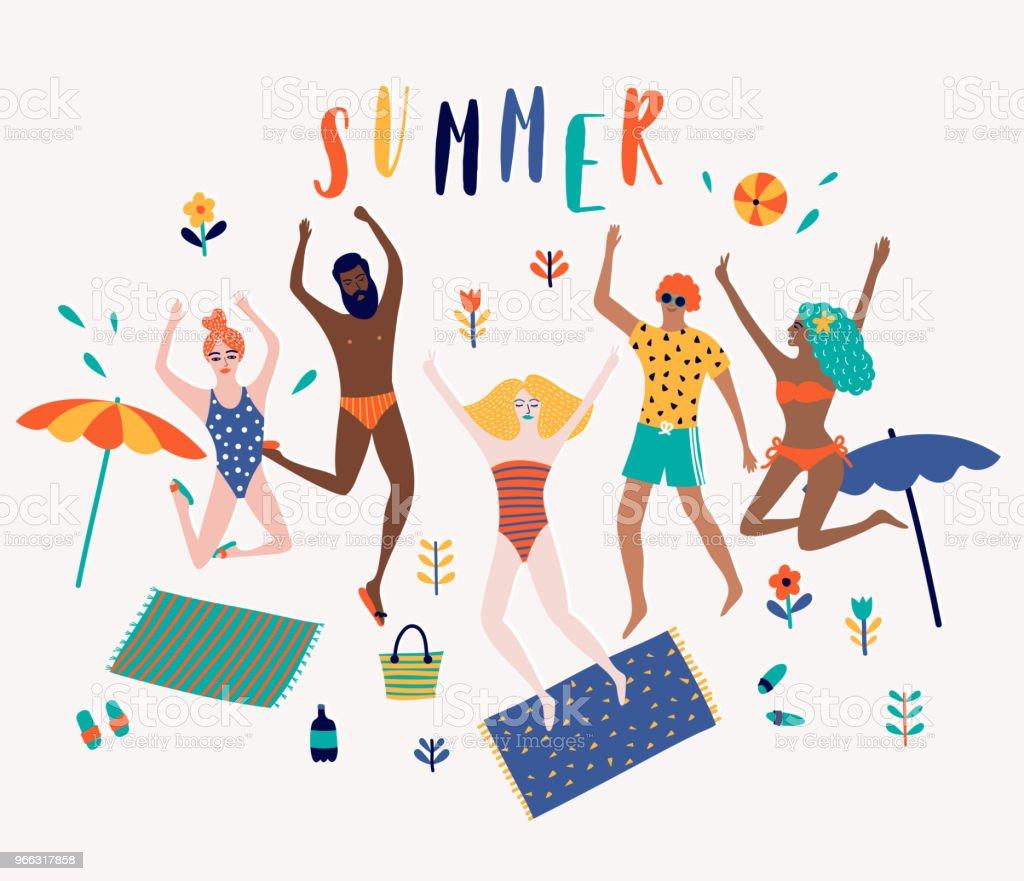 Sommer Strand Cartoon-Vektor-Illustration mit fröhliche Junge Menschen springen – Vektorgrafik