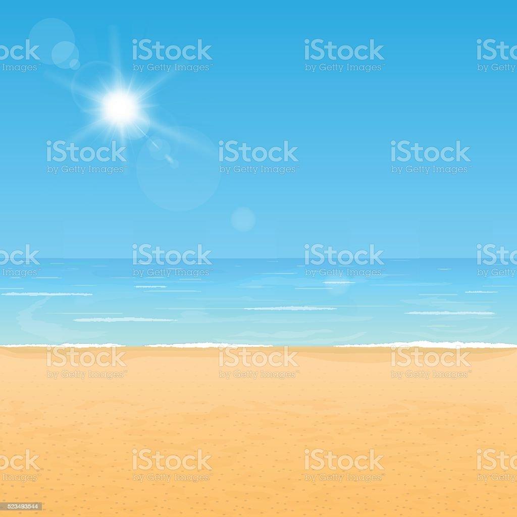Costa de verão na praia - ilustração de arte em vetor