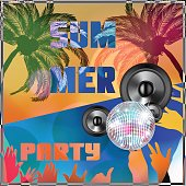 Summer beach colorful Party flyer design illustration