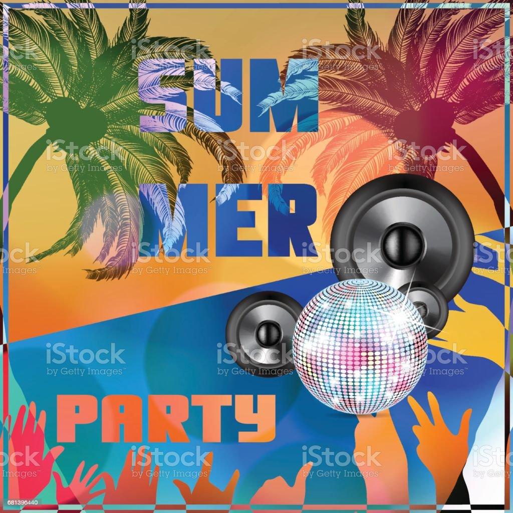 Summer beach colorful Party flyer design illustration vector art illustration