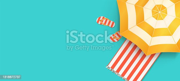 istock Summer beach concept. Summer holidays design template for promo poster, web banner, social media and mobile apps. 1318872737
