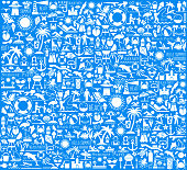 Summer Beach Day Vector Pattern on Blue Background. This royalty free vector illustration features a set of  vector summer icons in white color on blue background. Each 100% vector design element can be used independently or as part of this royalty free graphic set. The blackboard has a slight texture.