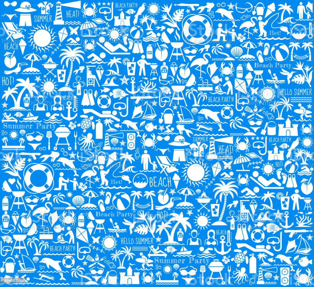 Summer Beach Day Vector Pattern on Blue Background vector art illustration