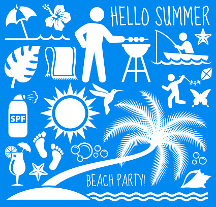 Summer Beach Day Vector Pattern on Blue Background