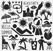 Summer Beach Day Vector Pattern on White Background. This royalty free vector illustration features Summer Beach Day Vector Pattern on White Background. Each 100% vector design element can be used independently or as part of this royalty free graphic set. The blackboard has a slight texture.