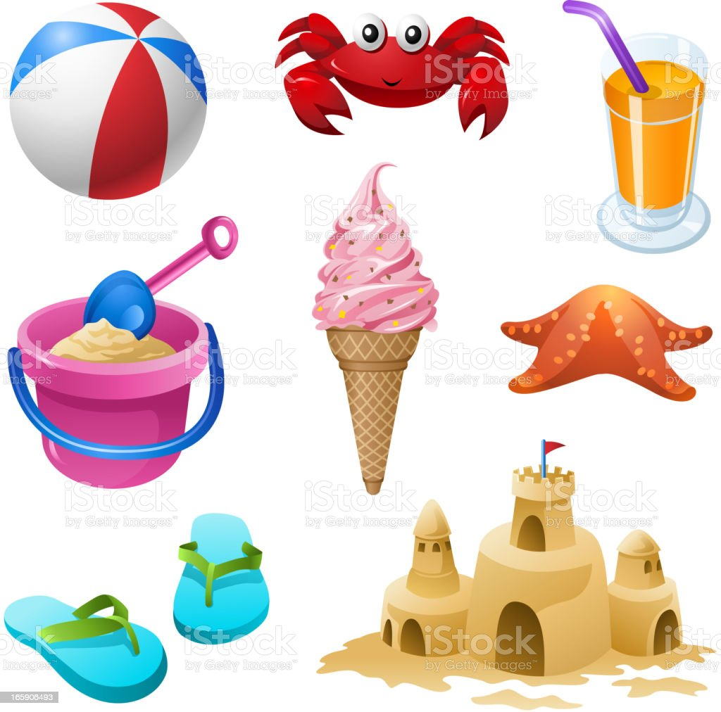 Summer Beach Elements Set royalty-free summer beach elements set stock vector art & more images of alcohol