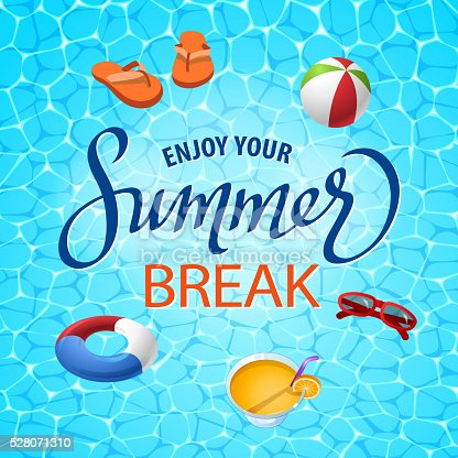 Summer beach design elements in water surface background.