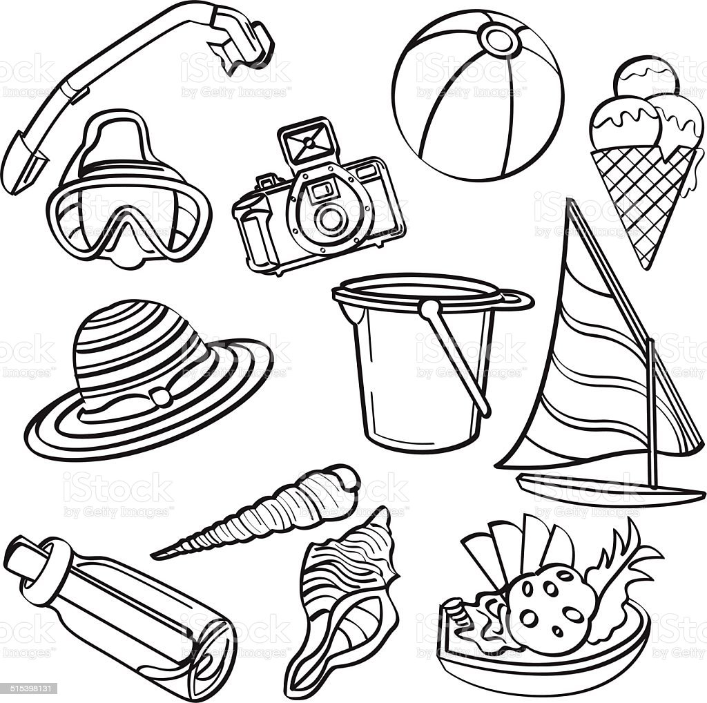 Summer Beach Elements vector art illustration