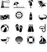 Summer by the beach black and white royalty free vector icon set. This vector illustration features sixteen summer icons arranged in four rows. Th icons include a search light, beach umbrella, refreshing summer drink, lounge beach chair, towel, smile face design, SPF 30 sun block, beach ball, snorkeling gear, seagull, sea shell life ring and a boat.