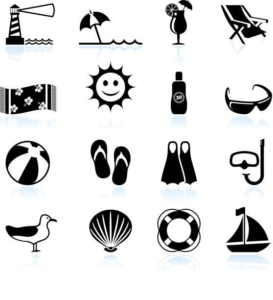 sommer strand spaß schwarz und weiß, vektor icon-set - sonnenstuhl stock-grafiken, -clipart, -cartoons und -symbole