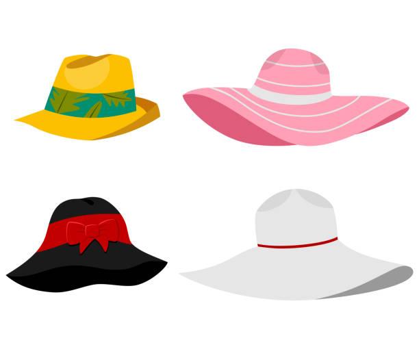 bildbanksillustrationer, clip art samt tecknat material och ikoner med sommaren beach hattar illustration. vector platt tecknad uppsättning av manliga och kvinnliga huvudbonader isolerad på vit bakgrund. - hatt