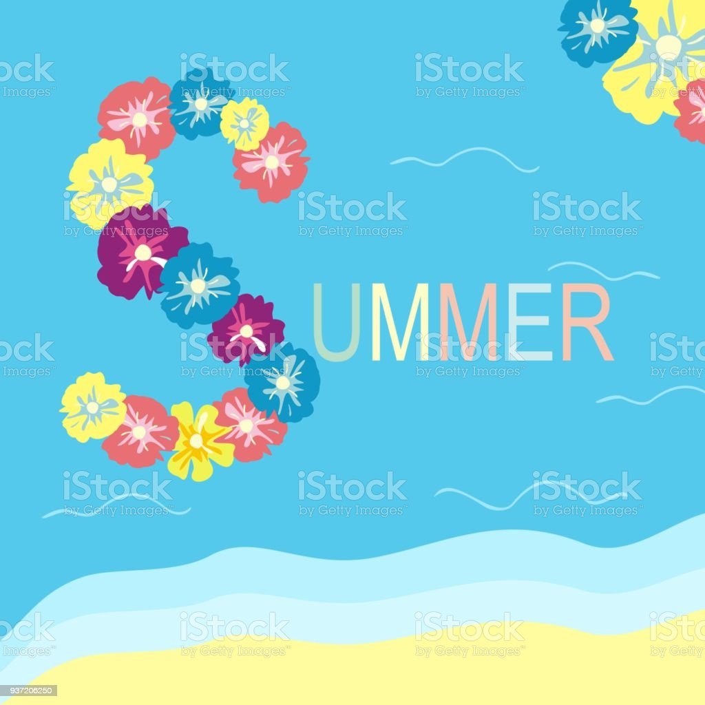 Summer Beach Holidays Sea And Text Of Flowers Vacation