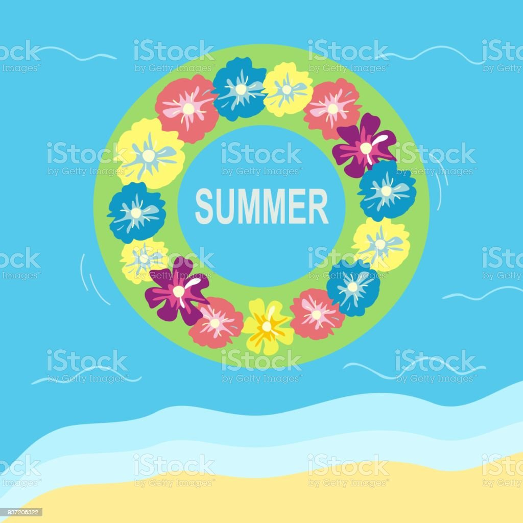 Summer Beach Holidays Inflatable Circle On The Water With Text