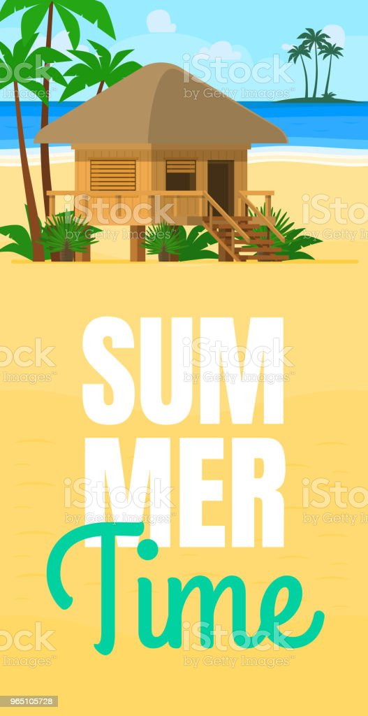 Summer beach house by sunset. Wooden villa suite on palms and sea background. Romantic tropic bungalow or small straw hut for rent or living. Summer travel poster with tropic beach bungalow house royalty-free summer beach house by sunset wooden villa suite on palms and sea background romantic tropic bungalow or small straw hut for rent or living summer travel poster with tropic beach bungalow house stock vector art & more images of architecture