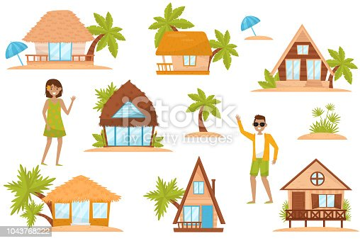 Summer beach houses set, people enjoying tropical summer vacation vector Illustration isolated on a white background.