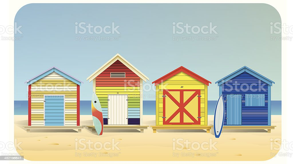 Summer beach huts vector art illustration