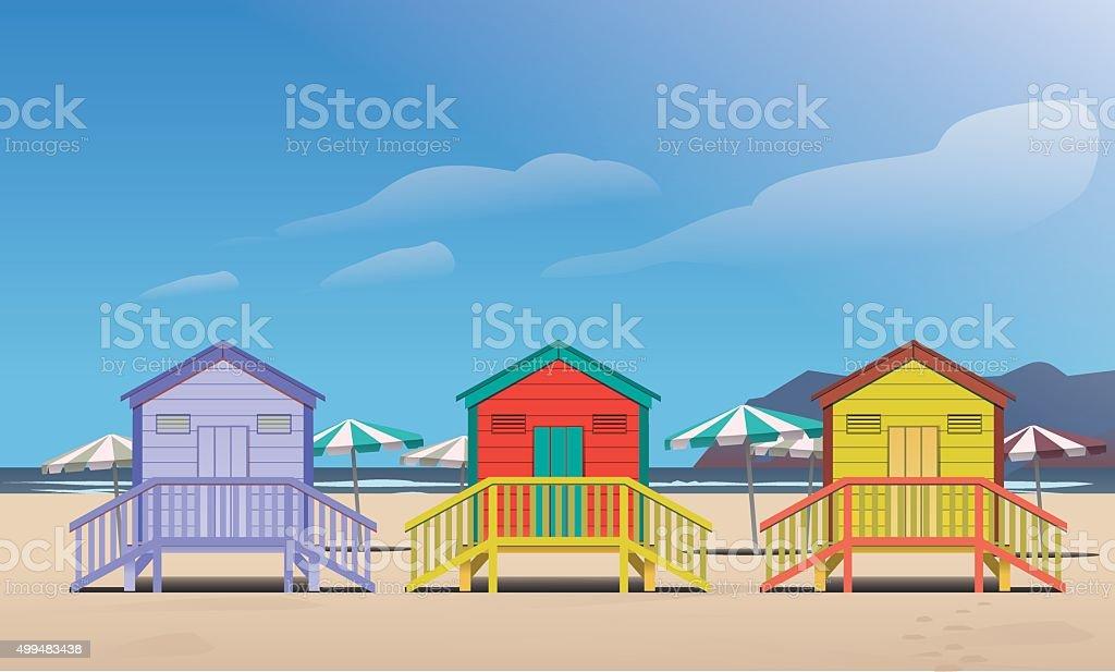 Summer beach huts vector art illustration