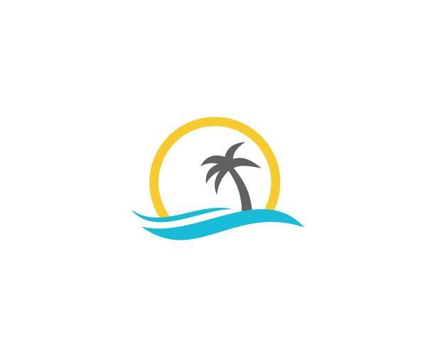bildbanksillustrationer, clip art samt tecknat material och ikoner med sommaren beach ikonen - ö