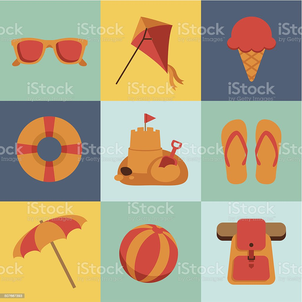 Summer Beach Icon vector art illustration