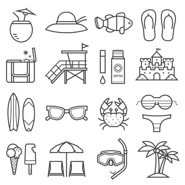 illustrazioni stock, clip art, cartoni animati e icone di tendenza di summer beach icons - flare