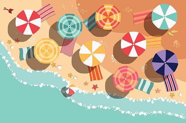 Summer beach in flat design, sea side and beach items vector art illustration
