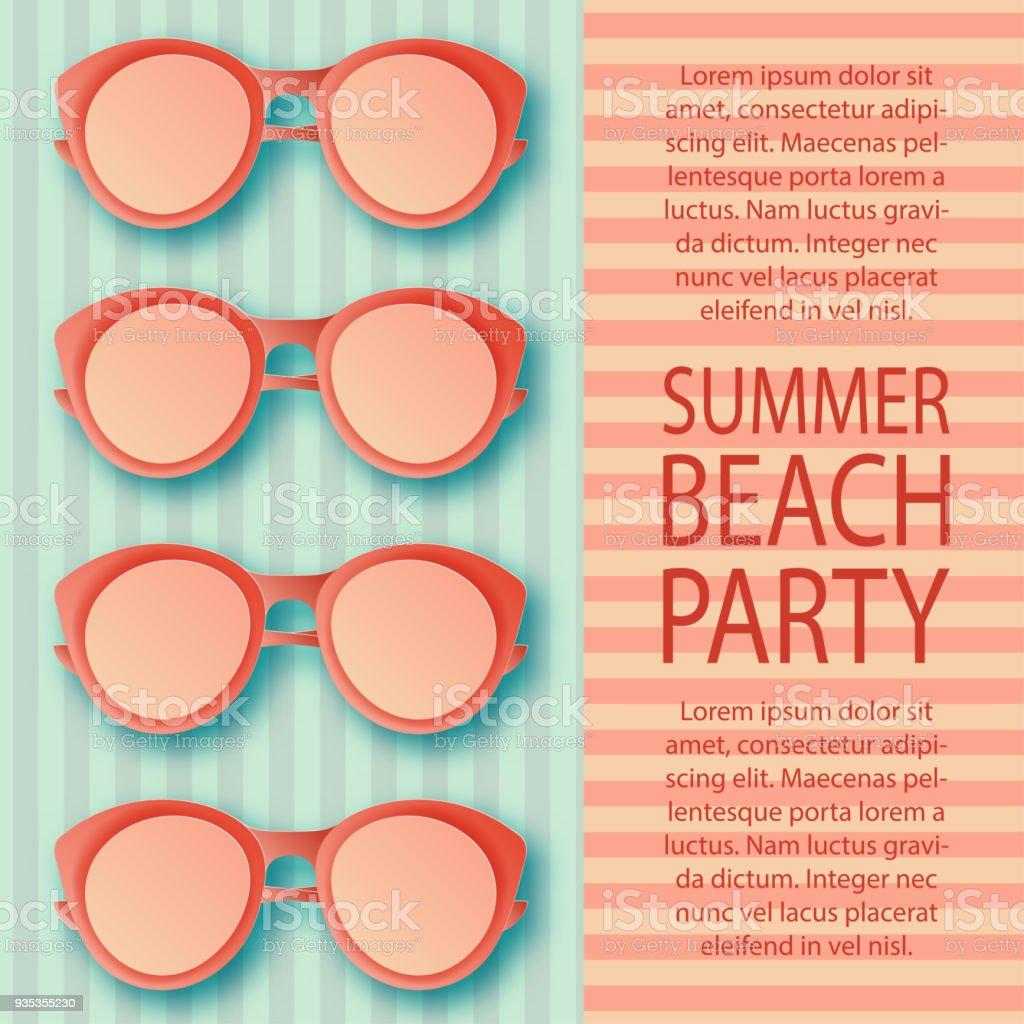 Sommer Strand Einladung Muster Mit Bunten Sonnenbrille Auf ...