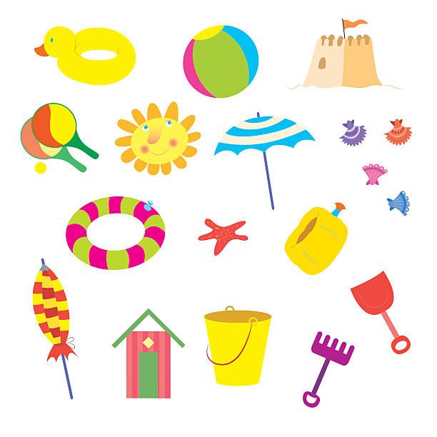 illustrations, cliparts, dessins animés et icônes de summer beach items - chateau de sable