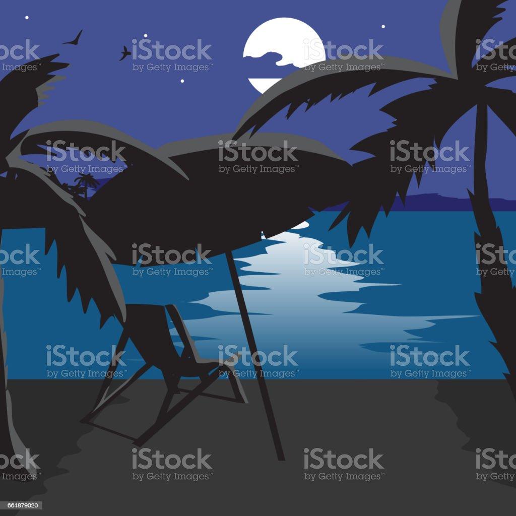 Summer beach landscape at night vector art illustration
