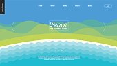 Summer beach landscape background web banner template - cartoon vector illustration of summer landscape with water and hills on blue sky
