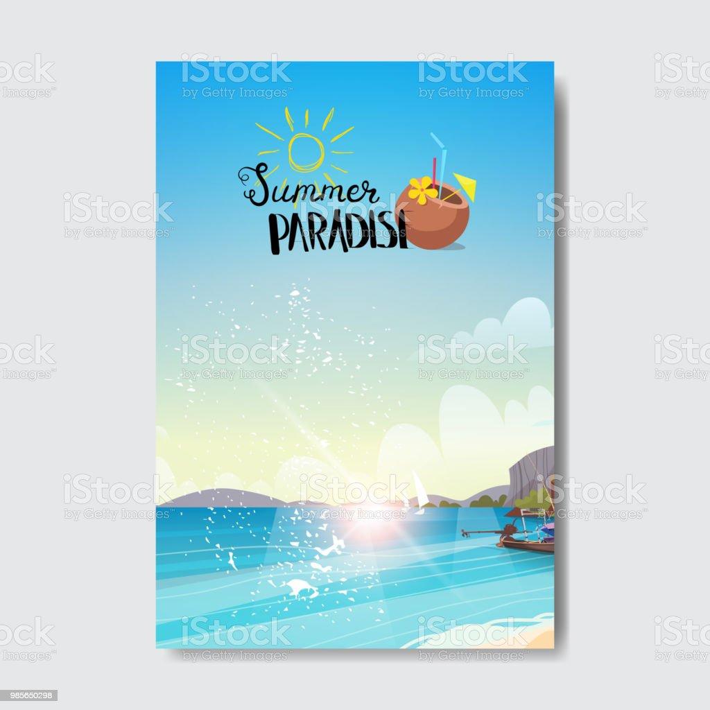 Ilustración de Verano Playa Paisaje Amanecer Vacaciones Insignia De ...