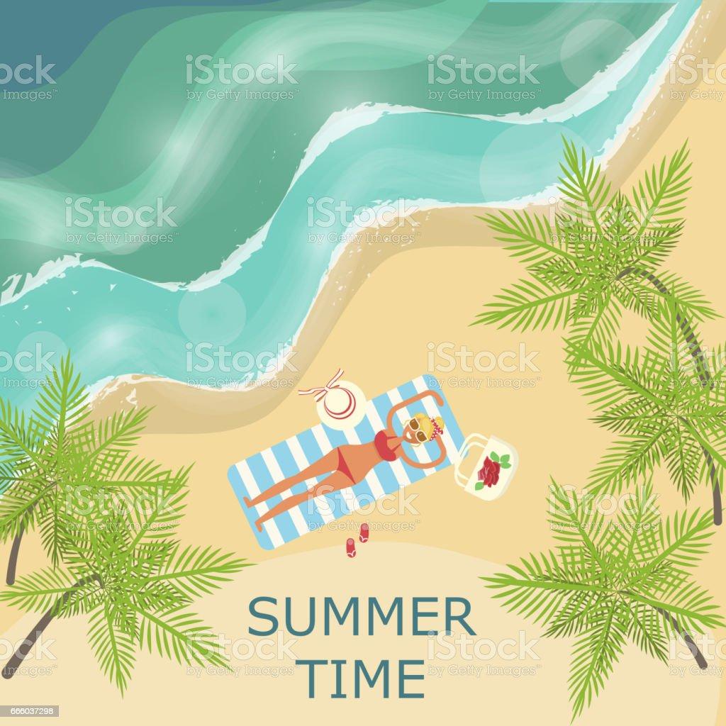 Summer beach landscape vector art illustration