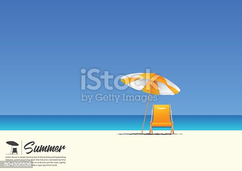 Summer beach landscape with orange beach chair and orange beach umbrella on blue gradient sky background  with copy space for your text.