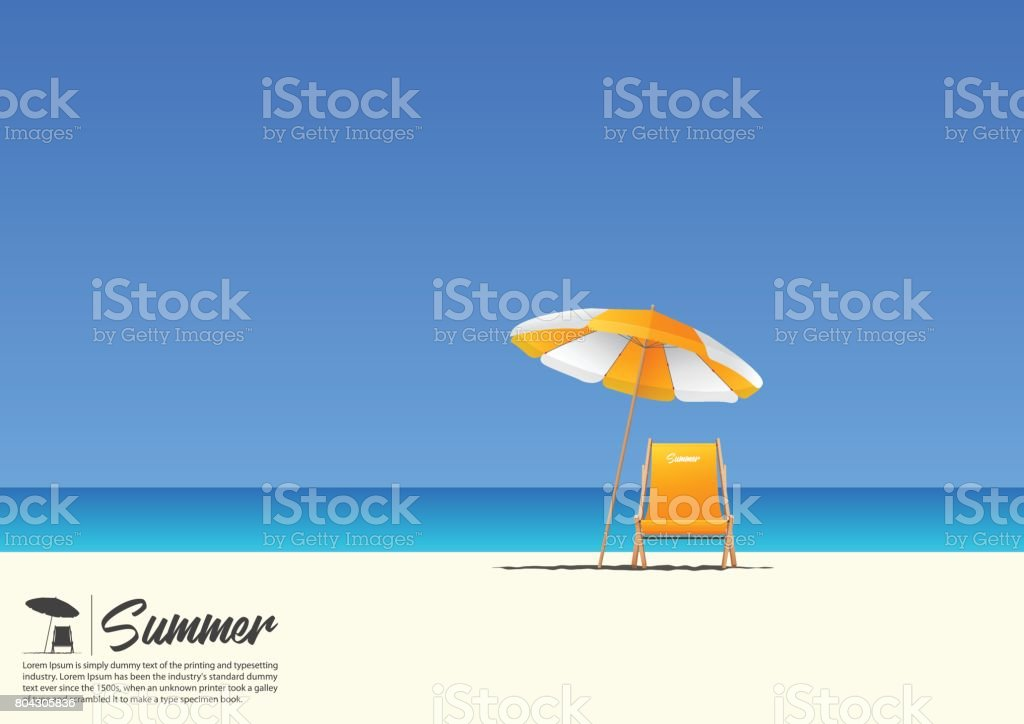 Summer beach landscape with orange beach chair and orange beach umbrella on blue gradient sky background  with copy space for your text. vector art illustration